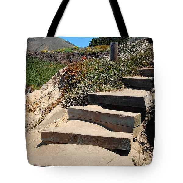 Tote Bag featuring the photograph Beach Stairs Big Sur by Debra Thompson