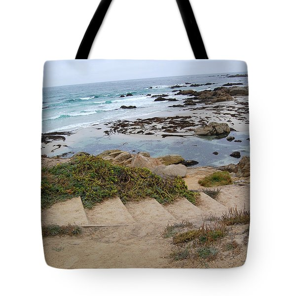 Tote Bag featuring the photograph Descending To The Beach Monterey by Debra Thompson