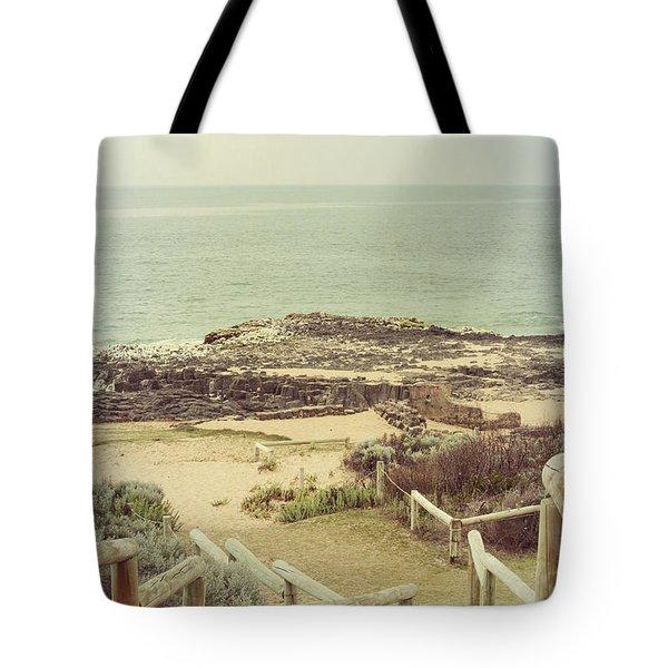 Beach Steps Tote Bag by Elaine Teague