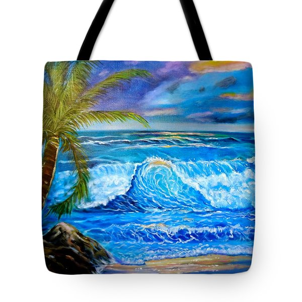 Tote Bag featuring the painting Beach Sunset In Hawaii by Jenny Lee