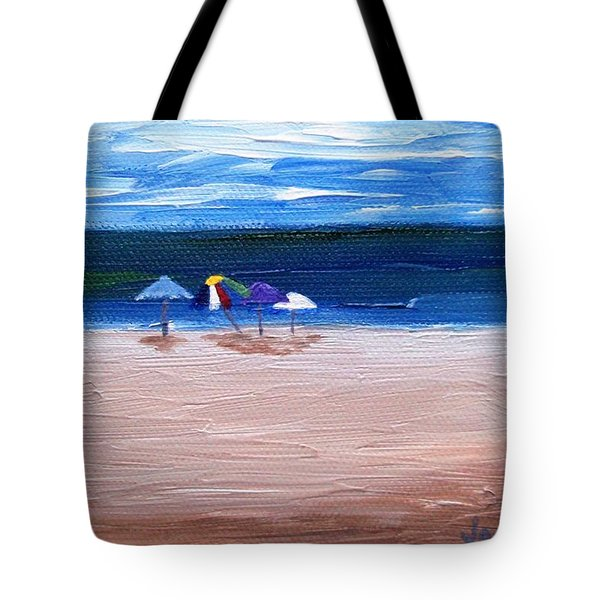 Tote Bag featuring the painting Beach Umbrellas by Jamie Frier
