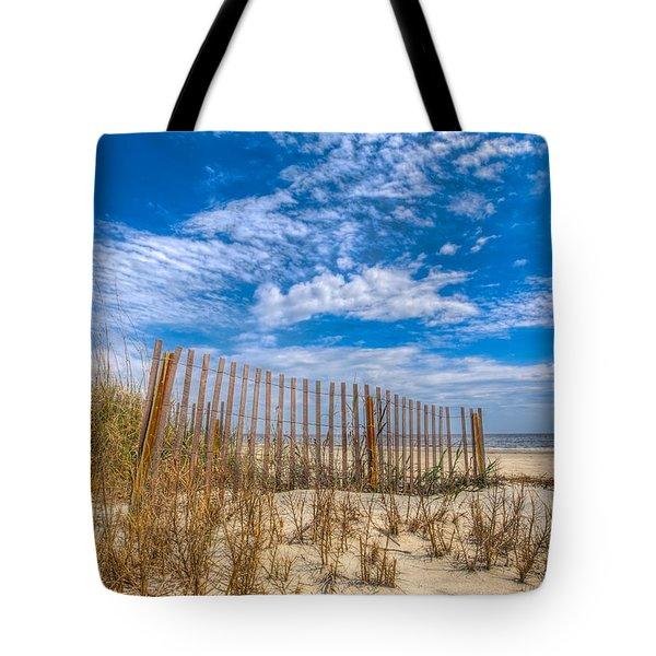 Beach Under Blue Skies Tote Bag by Debra and Dave Vanderlaan