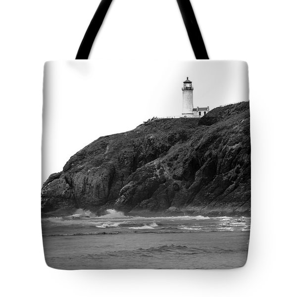 Beach View Of North Head Lighthouse Tote Bag by Robert Bales