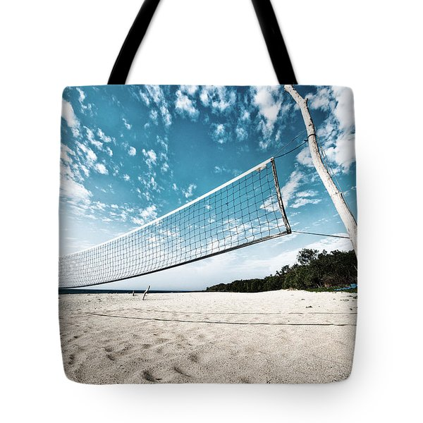 Beach Volleyball Net Tote Bag