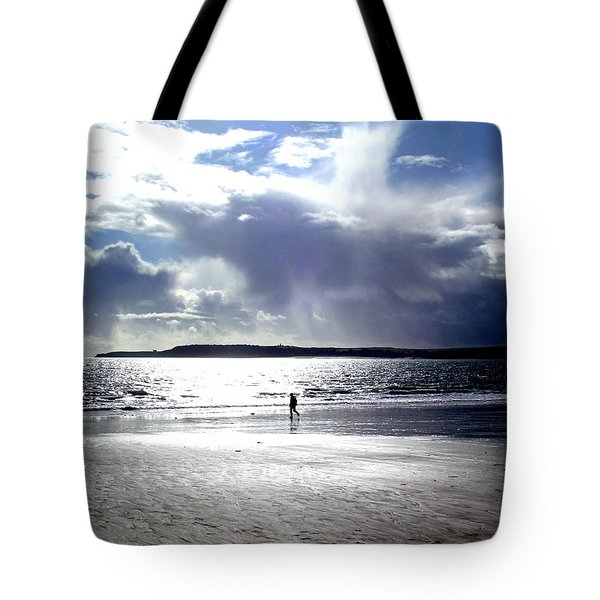 Lone Beach Walker Tote Bag