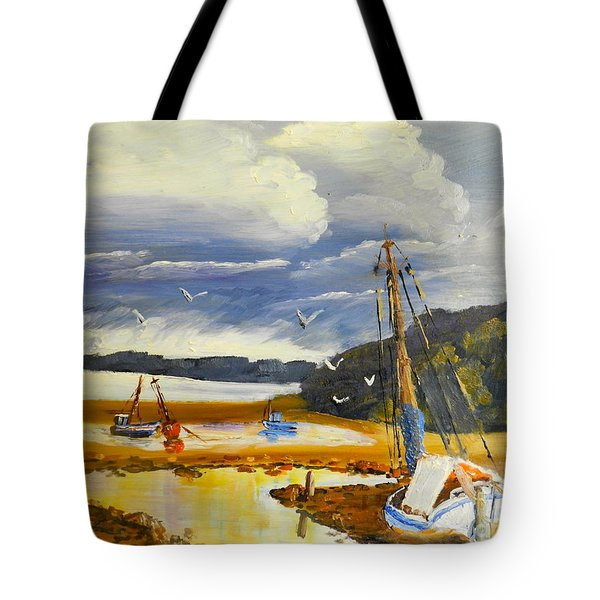 Beached Boat And Fishing Boat At Gippsland Lake Tote Bag by Pamela  Meredith