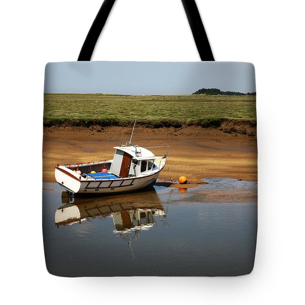 Beached Boat In River Estuary Tote Bag