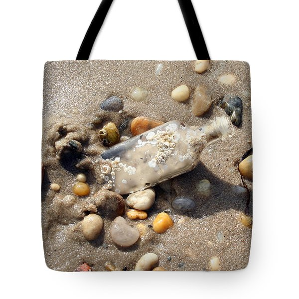 Tote Bag featuring the photograph Beached Bottle by Karen Silvestri