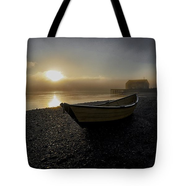 Beached Dory In Lifting Fog  Tote Bag