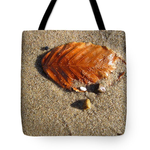 Tote Bag featuring the photograph Beached Leaf by Mary Bedy