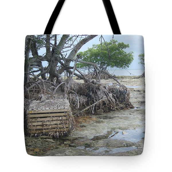 Tote Bag featuring the photograph Beached Lobster Trap by Robert Nickologianis