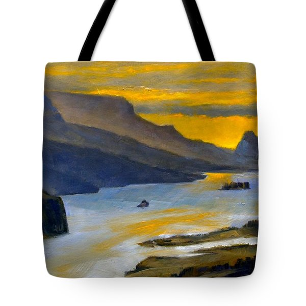 Beacon Rock From Oregon Side Tote Bag