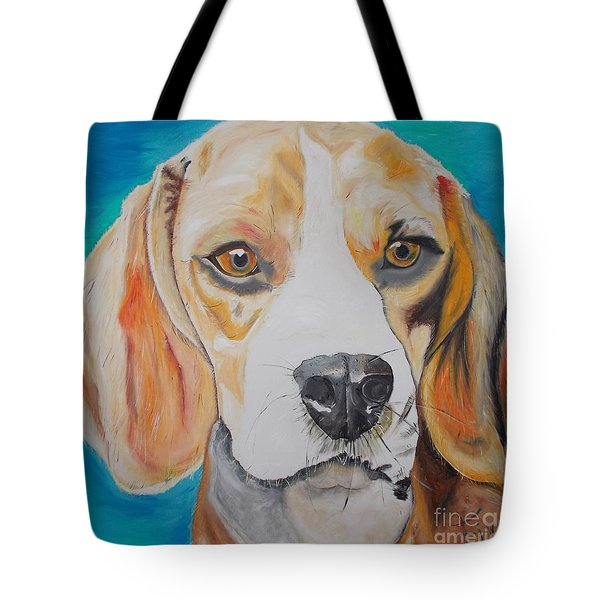 Tote Bag featuring the painting Beagle by PainterArtist FIN