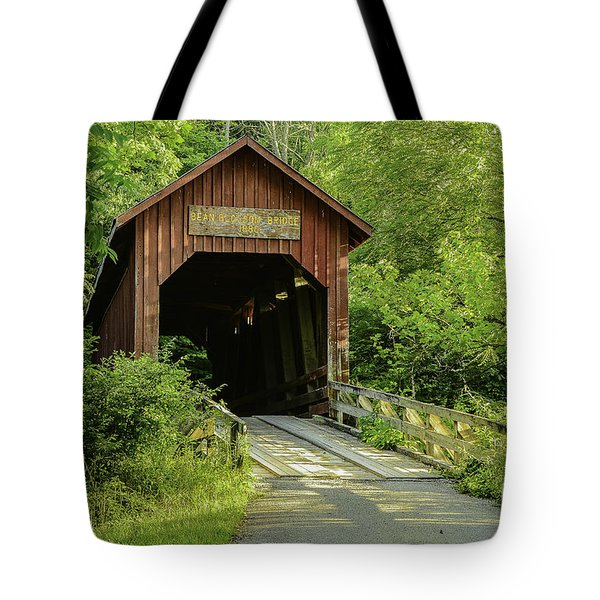Bean Blossom Covered Bridge Tote Bag by Mary Carol Story