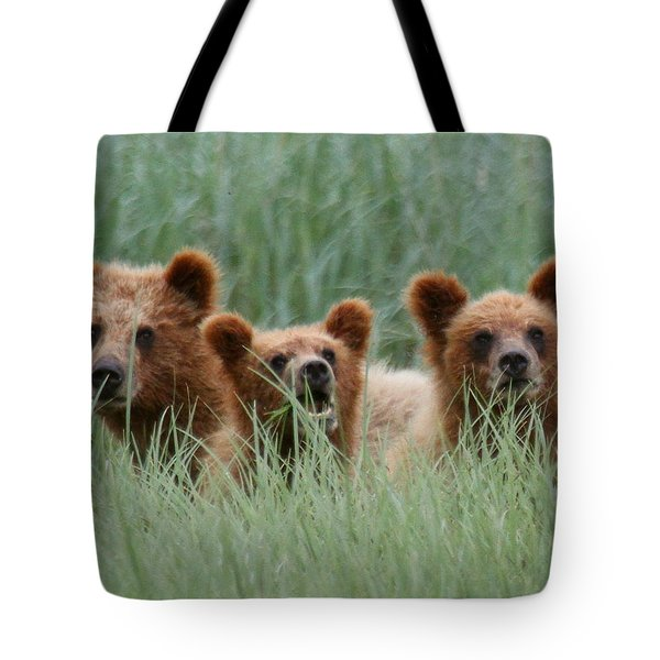 Bear Cubs Peeking Out Tote Bag