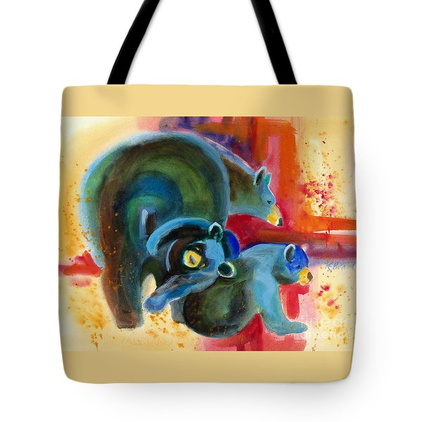 Bear Family In Red Tote Bag by Kathy Braud