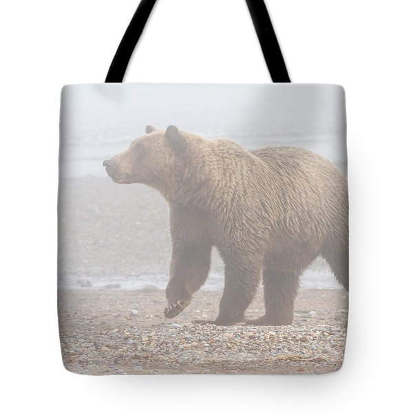Bear In Fog Tote Bag