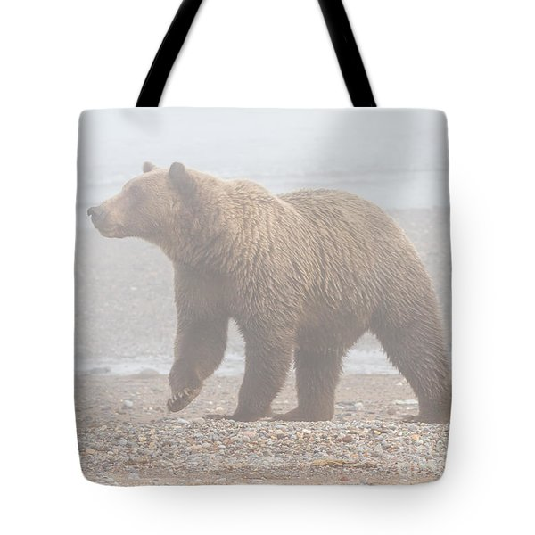 Bear In Fog Tote Bag by Chris Scroggins
