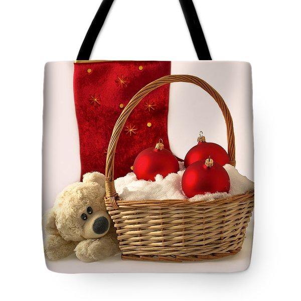 Bear Is Near Wicker With Christmas Balls  Tote Bag by Sviatlana Kandybovich