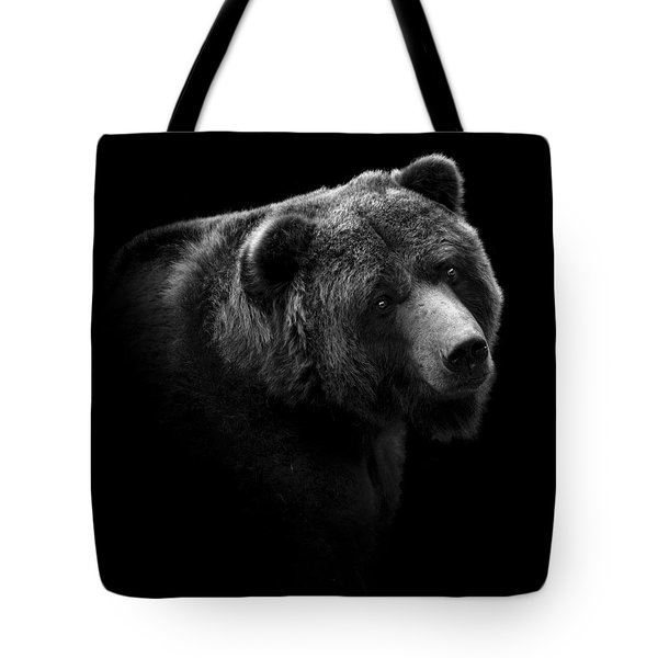 Portrait Of Bear In Black And White Tote Bag