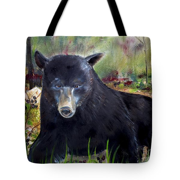 Bear Painting - Blackberry Patch - Wildlife Tote Bag by Jan Dappen