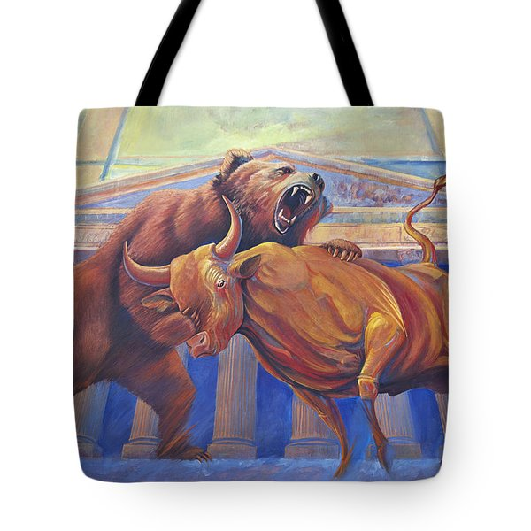 Bear Vs Bull Tote Bag by Rob Corsetti