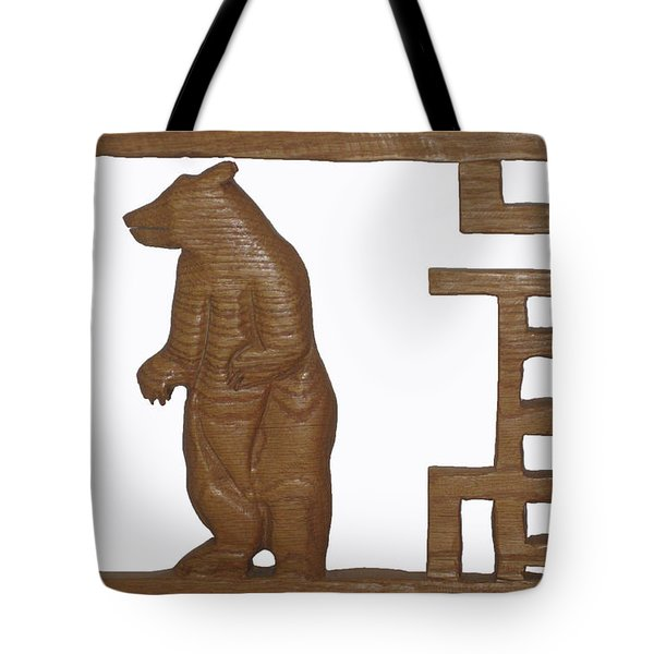Tote Bag featuring the sculpture Bear With Me My Friend by Robert Margetts