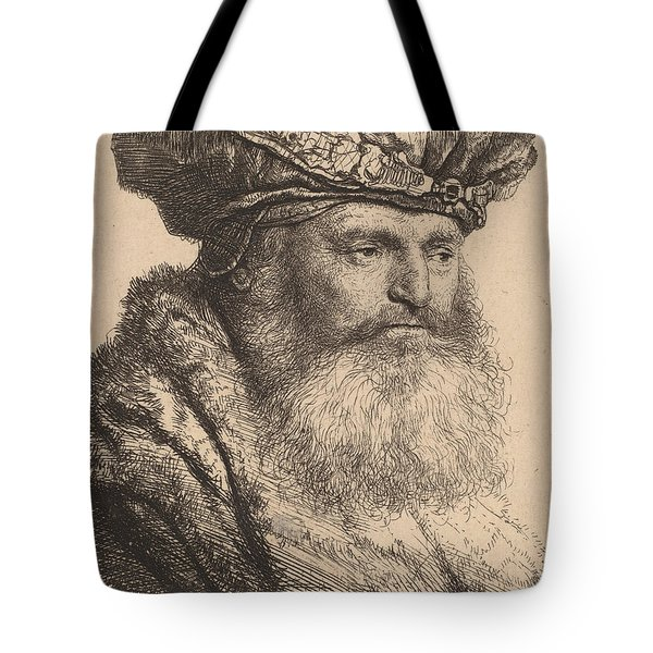 Bearded Man In A Velvet Cap With A Jewel Clasp Tote Bag