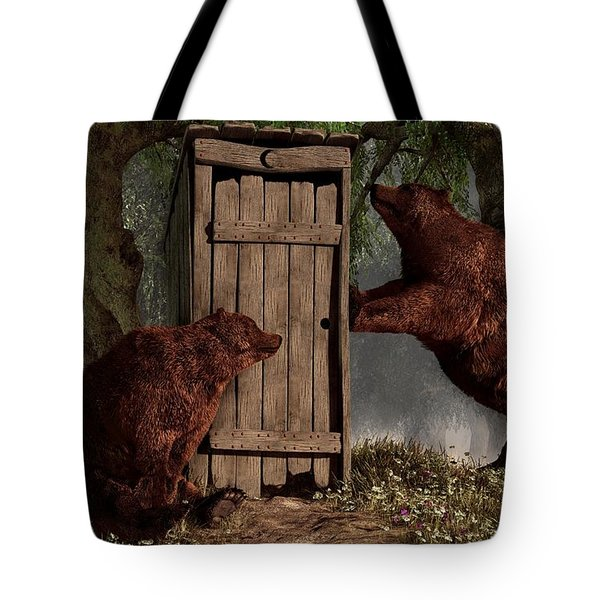 Bears Around The Outhouse Tote Bag by Daniel Eskridge