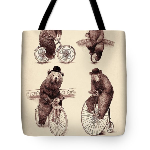 Bears On Bicycles Tote Bag by Eric Fan