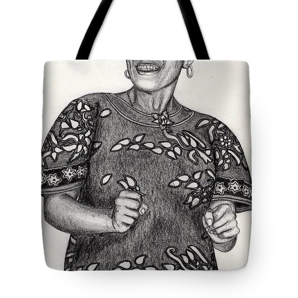 Tote Bag featuring the drawing Beat Woman by Lew Davis