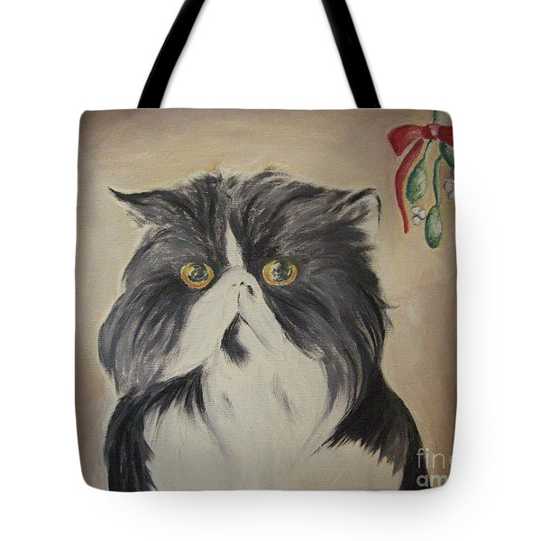 Beau With Mistletoe Tote Bag by Victoria Lakes