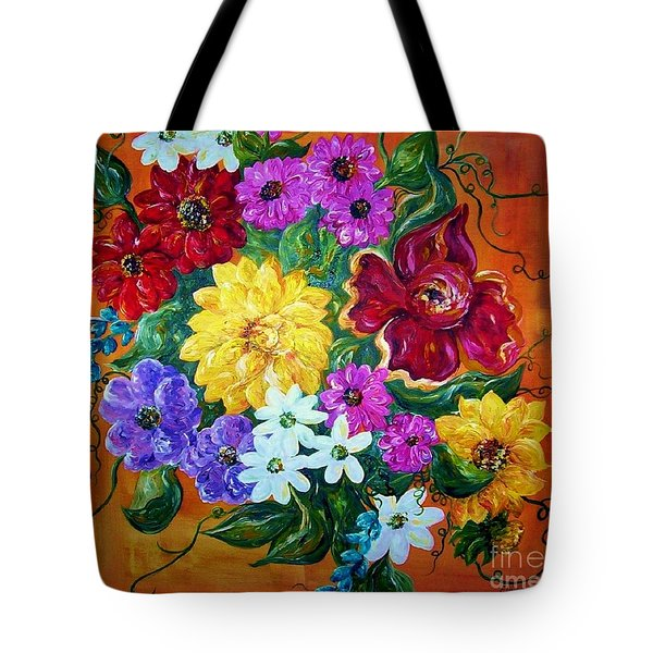 Tote Bag featuring the painting Beauties In Bloom by Eloise Schneider