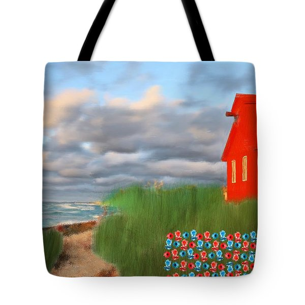 Beautification Of A Lighthouse Tote Bag by Bruce Nutting