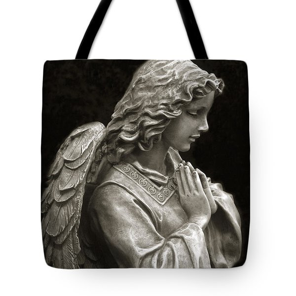 Beautiful Angel Praying Hands Christian Art Print Tote Bag