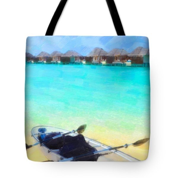 Beautiful Beach With Water Bungalows At Maldives Tote Bag by Lanjee Chee