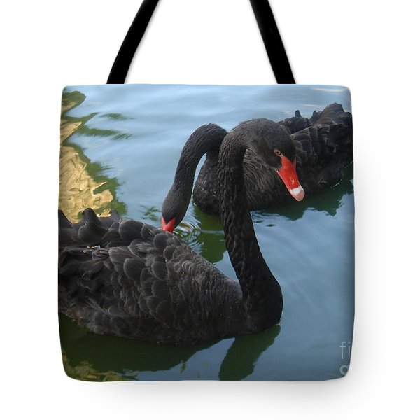 Tote Bag featuring the photograph Beautiful Black Swans by Carla Carson