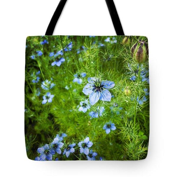 Beautiful Blue Nigella Tote Bag by Maria Janicki