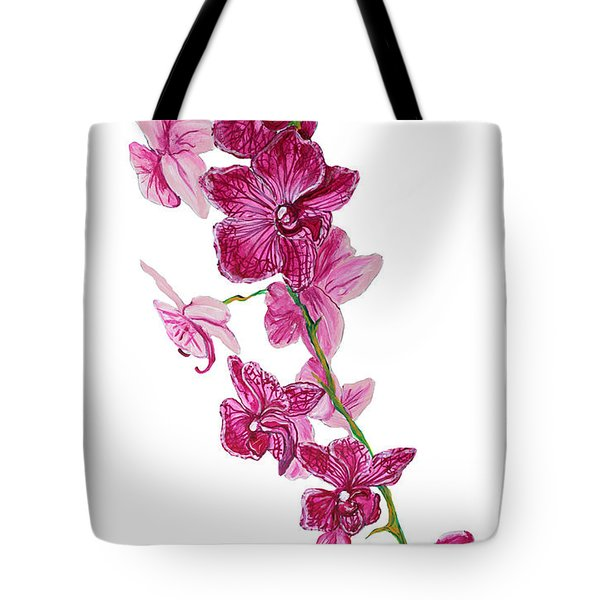 Beautiful Burgundy Orchid Flower Original Floral Painting Pink Orchid I By Megan Duncanson Madart Tote Bag by Megan Duncanson