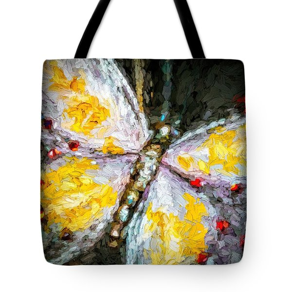 Tote Bag featuring the painting Beautiful Butterfly Ruby Jewel Abstract by Tracie Kaska