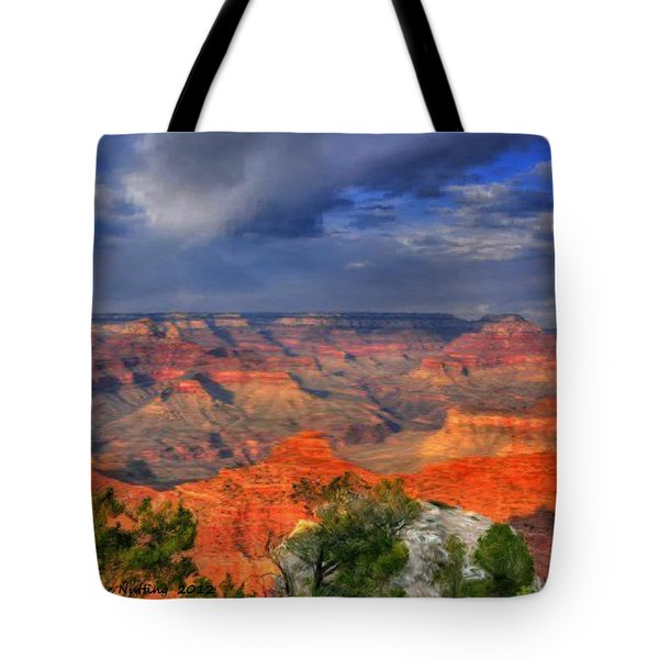 Tote Bag featuring the painting Beautiful Canyon by Bruce Nutting