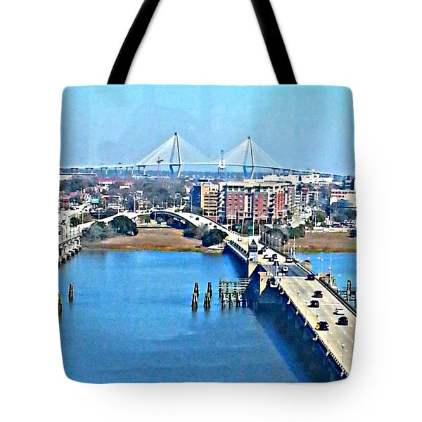 Tote Bag featuring the photograph  Charleston S C City View by Joetta Beauford