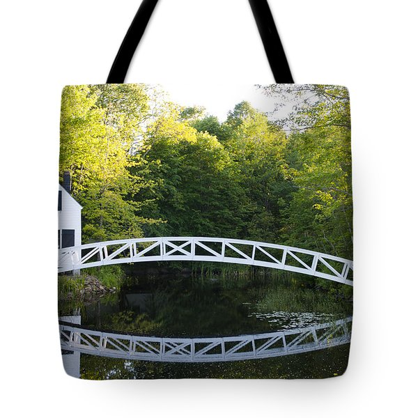 Beautiful Curved Bridge In Somesville Tote Bag by Bill Bachmann