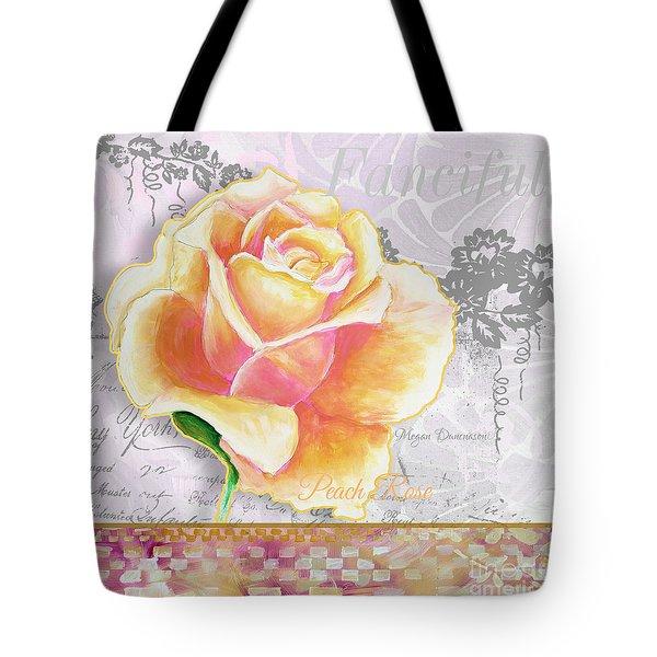 Beautiful Floral Peach Rose Original Flower Painting By Megan Duncanson Tote Bag by Megan Duncanson