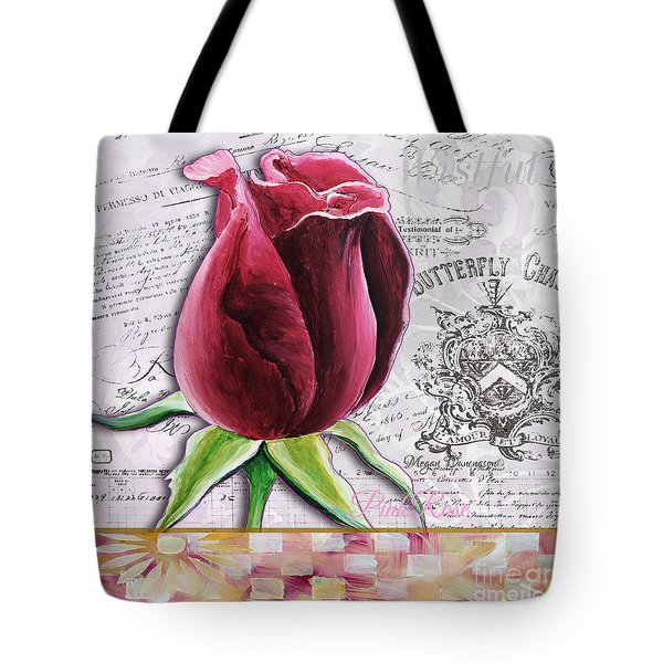 Beautiful Floral Pink Rose Original Flower Painting By Megan Duncanson Tote Bag by Megan Duncanson