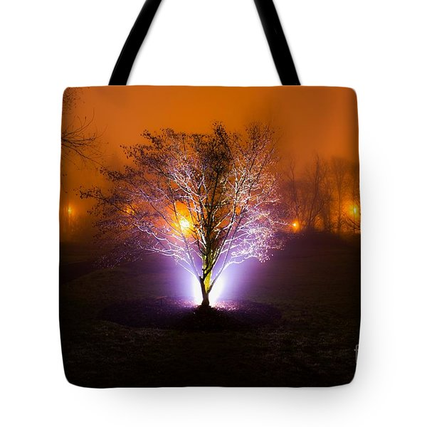 Beautiful Foggy Night 2 Tote Bag by Michael Cross