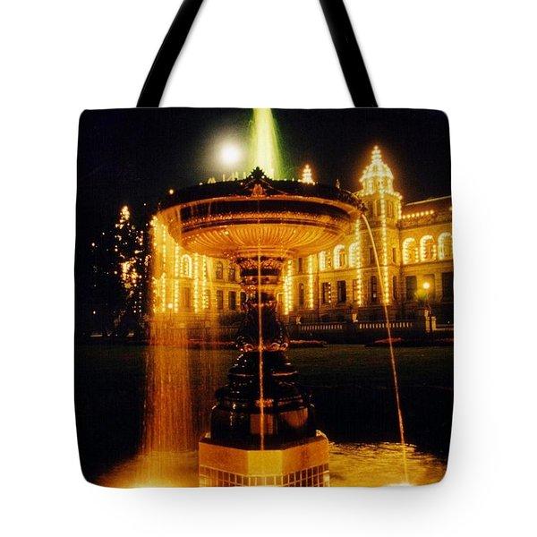 Beautiful Fountain At Night Tote Bag by John Malone
