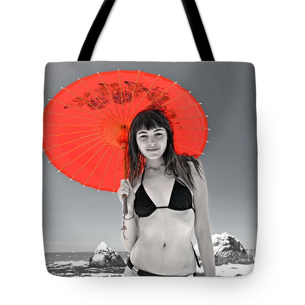 Beautiful Freckle Faced Model  At The Beach Altered Version Tote Bag