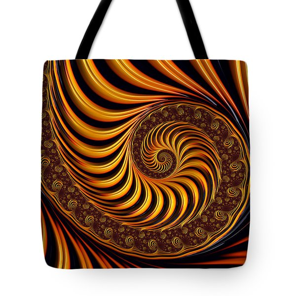 Tote Bag featuring the digital art Beautiful Golden Fractal Spiral Artwork  by Matthias Hauser