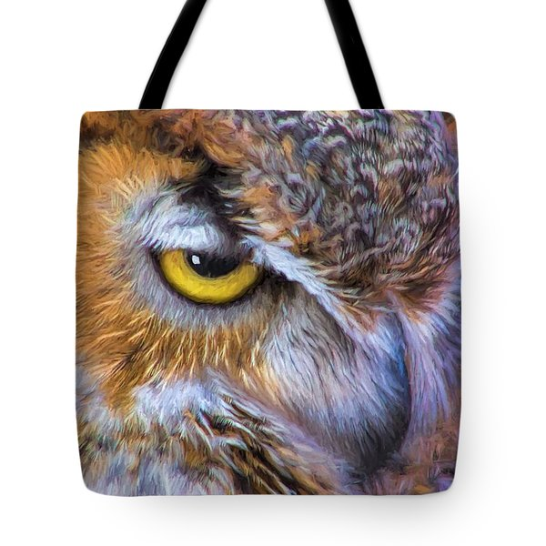 Tote Bag featuring the painting Beautiful Great Horned Owl Bird Golden Eye by Tracie Kaska